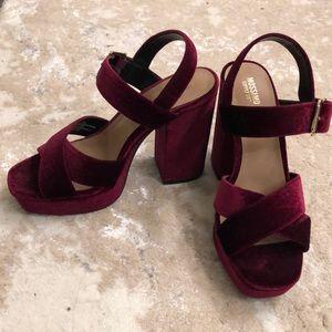Maroon velour heels